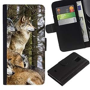 All Phone Most Case / Oferta Especial Cáscara Funda de cuero Monedero Cubierta de proteccion Caso / Wallet Case for Samsung Galaxy S5 Mini, SM-G800 // Wolf Pack Winter Canine Animals Nature