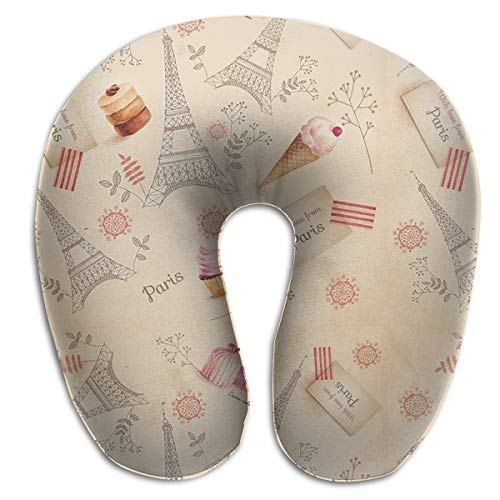 Supporting Neck Pillow for Kids - Washable Paris Eiffel Tower Car Pillow Head Relax U-Shaped Pillow - Stop The Head from Falling Forward in Any Sitting Position
