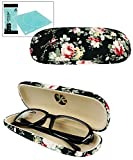 vintage eyeglass case - JAVOedge Black Vintage Floral Pattern Hard Shell Eyeglass Case with Bonus Microfiber Eyeglasses Cleaning Cloth