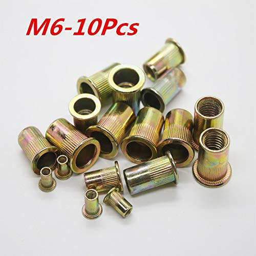 Stock-Home Fastener, M6 Threaded Carbon Steel Rivet Nut Rivnut Inserts Nut 500Pcs/Lot