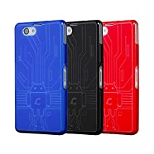 Z1 Compact Case, Cruzerlite Bugdroid Circuit Bundles of 3 TPU Cases Compatible for Sony Xperia Z1 Compact (Z1F) - Blue/Black/Red