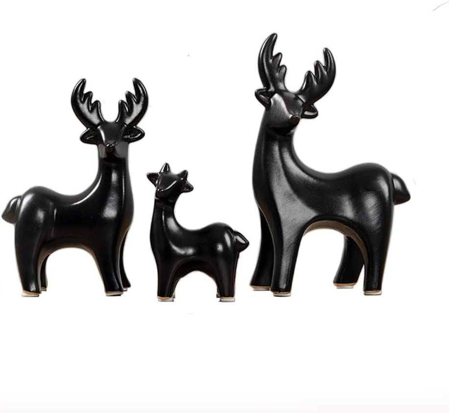 Elk Family Statue Wealth Lucky Feng Shui Deer Figurine Home Decor Collection Birthday Congratulatory House Warming Gift (Black)