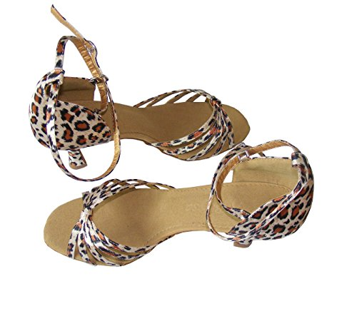 Colorfulworldstore Zapatos de baile latino con cinco correas acabadas en nudo en color rojo/bronce/carne/beige/con estampado de leopardo de leopardo