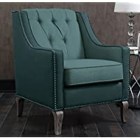 Iconic Home FAC2706-AN Mixed Linen Leatherette Nailhead Ethan Material, Accent Chair, Blue