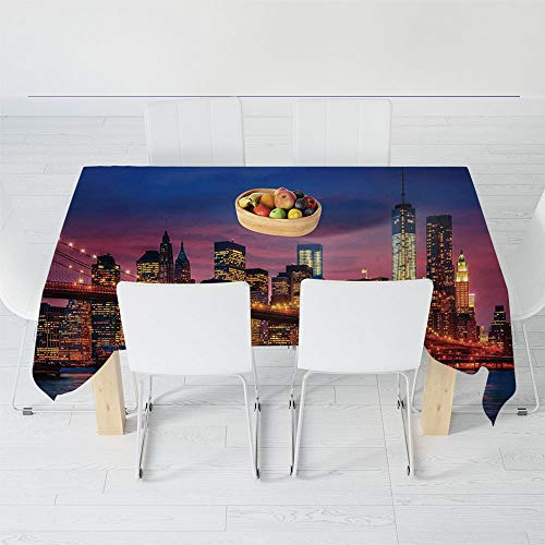 9880 Light - Dust-Proof Tablecloth,New York,for Kitchen Dinning Tabletop Decoration,40.2 X 30.3 Inch,NYC That Never Sleeps Image Neon Lights