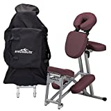 STRONGLITE Ergo Pro II Portable Massage Chair Package - Lightweight, Foldable Tattoo Spa Massage Chair with wheels (only 19lbs), Burgundy