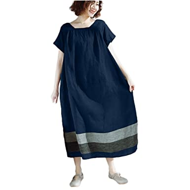 a8699976af2df LEvifun Robe Maxi Longue Femme Ete Chic Robe Vintage Manche Courte Coton et  Lin Robe de