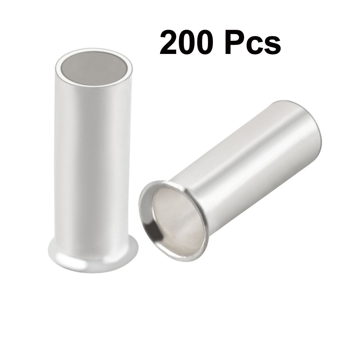 sourcingmap 200Pcs EN2508 Tin Plating Non-Insulated Wire Ferrule Terminal Copper Connector for 14AWG Wire