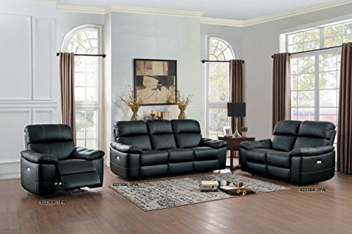 Homelegance 8223BK-3PW Nicasio Contemporary All Leather Power Reclining Sofa Black