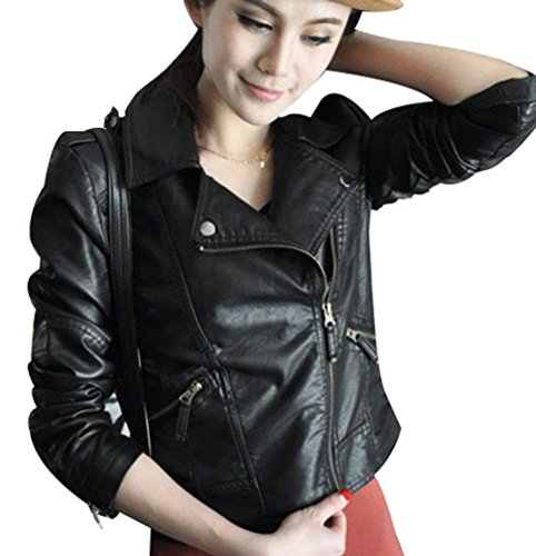 Faux Sleeve Yasong up PU Zip Leather Fitted Jacket Punk Long Biker Motorcycle Women Girls Slim Black nRwq8r0RB