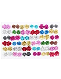 LUBINGSHINE 36 Pairs Assorted Colors Resin Rose Flower Earring Studs Set for Women Girls Birthday Jewelry