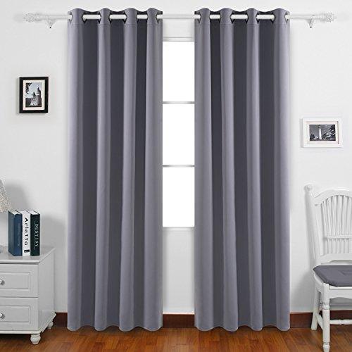 Deconovo Solid Room Darkening Curtains Thermal Insulated Bla