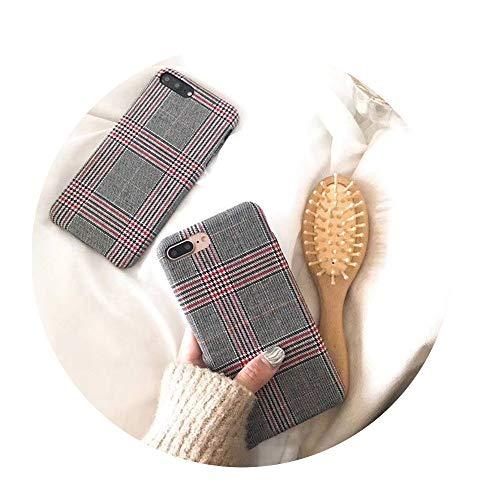 Cloth Grid Phone Case For Apple iPhone Red For iPhone 8 Plus