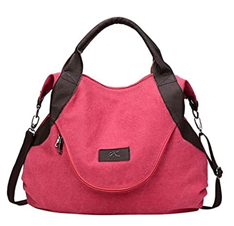 KISS GOLD(TM) Oversized PU Leather Canvas Travel Totes Crossbody Bag, College Style, Red - Sporty Travel Tote