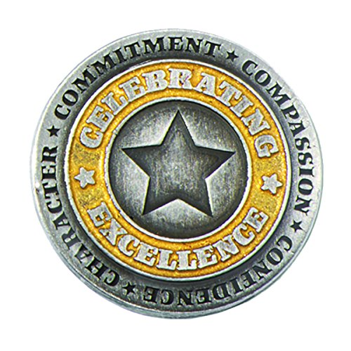 (Silver & Gold Celebrating Excellence Star Award Lapel Pin, 12)