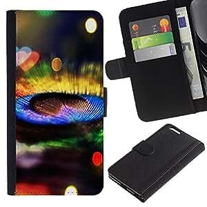 """Apple (5.5 inches!!!) iPhone 6+ Plus , la tarjeta de Crédito Slots PU Funda de cuero Monedero caso cubierta de piel ("""" Peacock Feather Colorful Bright Bling Shiny"""")"""