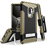 Galaxy S9 Plus Case, Trishield Durable Rugged Heavy Duty Phone Cover [ Belt Clip Holster] And Built in kickstand For Samsung Galaxy S9 Plus - Black/Brown