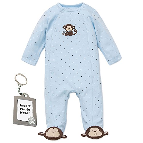 Monkey Pajamas Footed (Little Me Blue Monkey Footed Newborn Baby Sleeper and Keychain 3 Months)