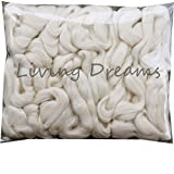 Baby Alpaca Silk Fiber Blend. Luxuriously Soft Combed Top Wool Roving for Spinning, Felting, Blending and Other Fiber Crafts. Natural White