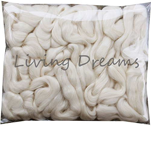Soft Wool Spinning Roving Fiber (BABY ALPACA SILK Fiber Blend. Luxuriously Soft Combed Top Wool Roving for Spinning, Felting, Blending and other Fiber Crafts. Natural White)