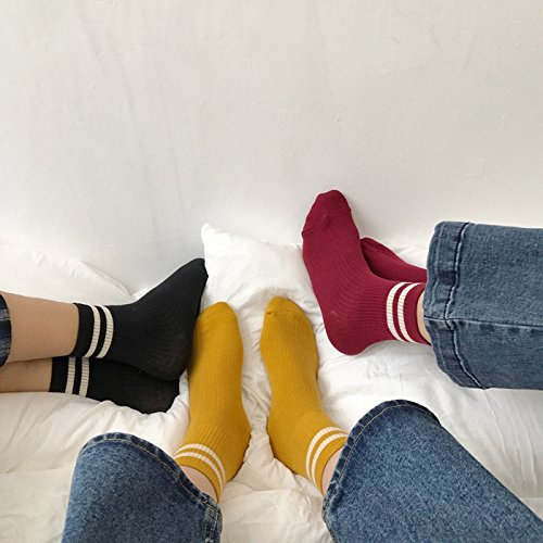 Generic The new School of wind minimalist Japanese literary autumn and winter striped tube socks women girls lady socks autumn and winter Beautiful piles of white border