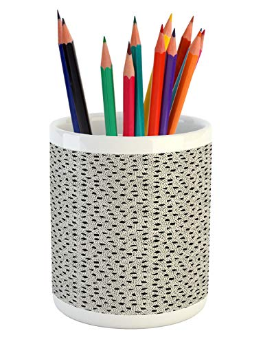 Ambesonne Orient Pencil Pen Holder, Scattered Geometric Simple Mosaic Shapes Oriental Circles Triangles, Printed Ceramic Pencil Pen Holder for Desk Office Accessory, Charcoal Grey Eggshell - Eggshell Mosaic Box