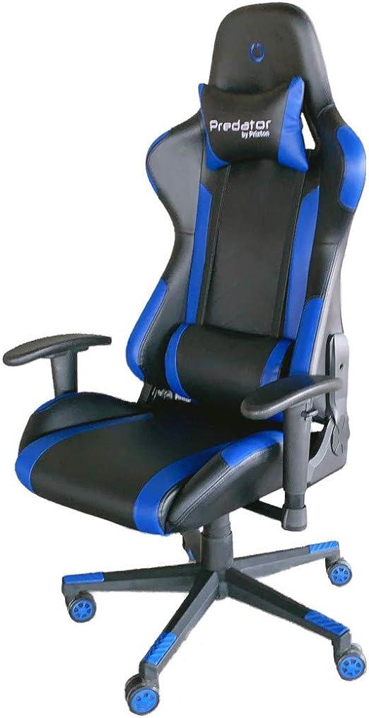 PRIXTON Predator Gaming Chair 10B - Silla Gaming/Silla Gamer con Altura y Reposabrazos Ajustables, Reclinable 180º, Fabricado en Metal y Espuma de Alta consistencia, Cojín Cervical Incluido, Azul: Amazon.es: Juguetes y juegos