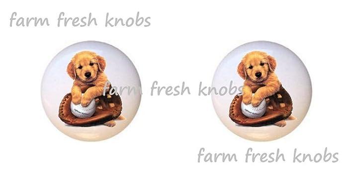 Beautiful SET OF 2 KNOBS   Softball Puppy Dog   Dogs   DECORATIVE Glossy CERAMIC  Cupboard Cabinet