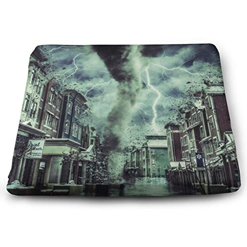 (Comfortable Seat Cushion Print Park City Utah Prefecture Storm Dark Surrealism - Memory Foam Filled for Outdoor Patio Furniture Garden Home Office)