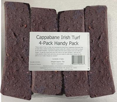 Brick Peat - Cappabane Irish Turf 4 x Fire Log Pack