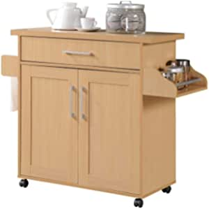 Hodedah Kitchen Island With Spice Rack Towel Rack Drawer Beech Furniture Decor Amazon Com
