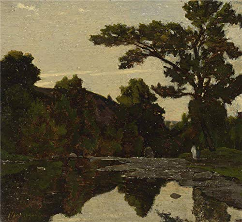 Oil Painting 'Henri Joseph Harpignies A River Scene ' Printing On High Quality Polyster Canvas , 10 X 11 Inch / 25 X 28 Cm ,the Best Dining Room Decoration And Home Decor And Gifts Is This High Definition Art Decorative Prints On Canvas]()