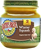 Earth's Best Organic Stage 2 Baby Food, Winter Squash, 4 Ounce Jars, Pack of 12