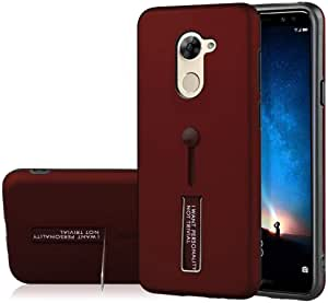 Huawei Y7 2017 Detachable TPU plus PC Hybrid Grid Protective Cover with Invisible Kickstand - Dark Red