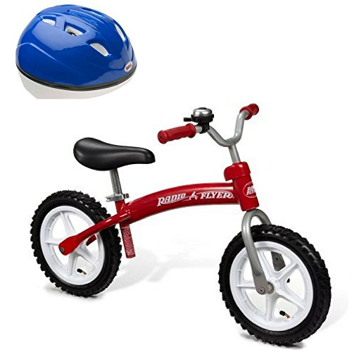 Radio Flyer Pedal Free Beginner Balance Bike: Glide & Go and Blue Shadow Helmet for Toddlers, Kids Riding Adventure, Preschool Toy, Outdoor Sports and Active Play, Kids Bike and Accessory Gift Bundle by Radio Flyer, Bell Sports