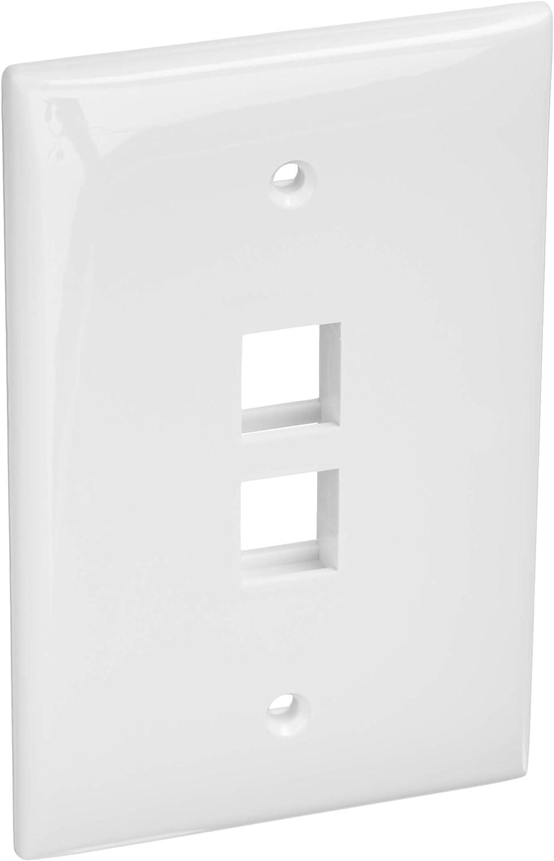 Leviton 41091-2WN QuickPort Midsize Wallplate, Single Gang, 2-Port, White