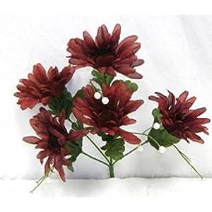 60 Burgundy Silk Gerber Daisies Wedding Bouquet Flowers 16