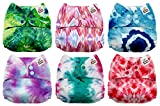 #7: Mama Koala One Size Baby Washable Reusable Pocket Cloth Diapers, 6 Pack with 6 One Size Microfiber Inserts (Tie Dye)