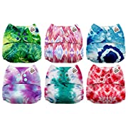 Mama Koala One Size Baby Washable Reusable Pocket Cloth Diapers, 6 Pack with 6 One Size Microfiber Inserts (Ella)