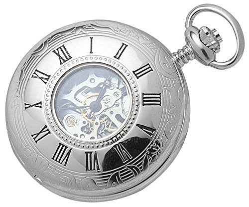- Woodford Mens Chrome Plated Skeleton Half Hunter Mechanical Pocket Watch - Silver