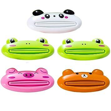Exprimidor de tubo de pasta de dientes dispensador dispensador de dibujos animados animales multiusos para redondo 5 unidades: Amazon.es: Hogar