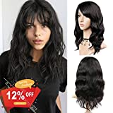 #7: WIGNEE 100% Virgin Human Hair Natural Wave Wigs with Bangs Brazilian Human Hair Wave Wigs Natural Black Color (16