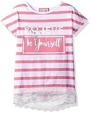 Dream Star Girls' Short Sleeve Stripe Top W/ Foil and Crochet Trim Hem