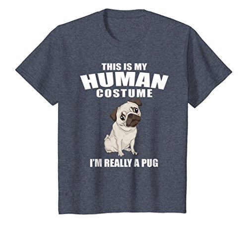 Kids This is my Human Costume I'm really a Pug Halloween Shirt 12 Heather Blue