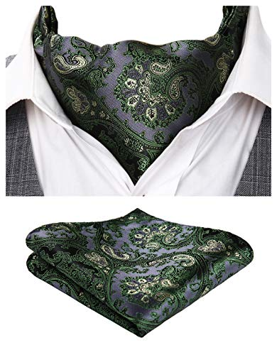 HISDERN Men's Ascot Paisley Floral Jacquard Woven Gift Cravat Tie and Pocket Square Set,Green / Gray,One -