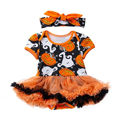 LNGRY Baby Girls Dress,Toddler Newborn Kid 2Pcs Pumpkin Ghost Tulle Dress Halloween Party Costume Dresses (6-12 Months, Yellow)