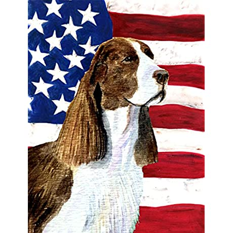Caroline S Treasures SS4040CHF USA American Flag With Springer Spaniel Flag Canvas Large Multicolor