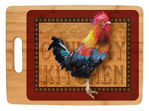 (Farmhouse Kitchen Décor Rooster Country Kitchen Full Color Rectangle Bamboo Cutting Board)