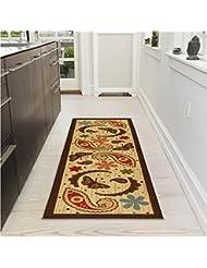 Ottomanson Sarau0027s Kitchen Paisley Design Mat Runner Rug With Non Skid  (Non Slip