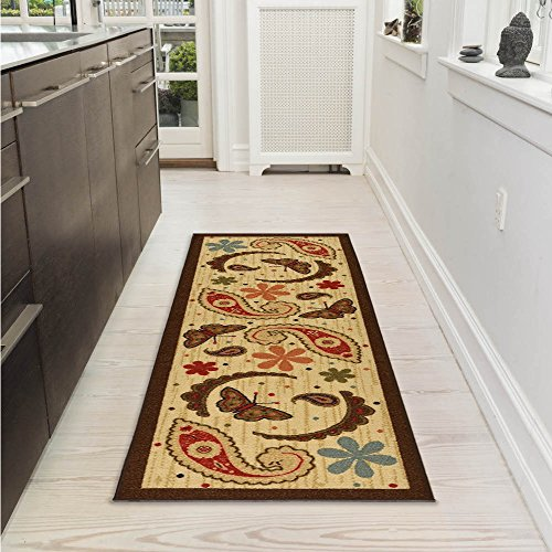 Ottomanson Sara's Kitchen Paisley Design Mat Runner Rug with Non-Skid (Non-Slip) Rubber Backing, Beige, 20'' x 59'' by Ottomanson (Image #1)